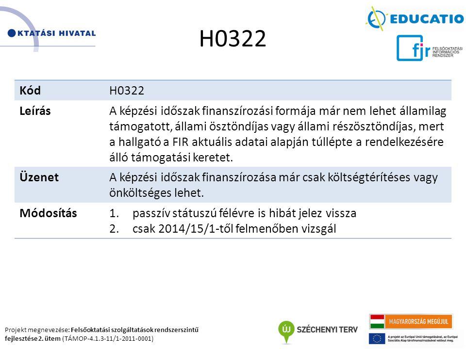 Projekt megnevezése: Felsőoktatási szolgáltatások rendszerszintű fejlesztése 2. ütem (TÁMOP-4.1.3-11/1-2011-0001) H0322 KódH0322 LeírásA képzési idősz