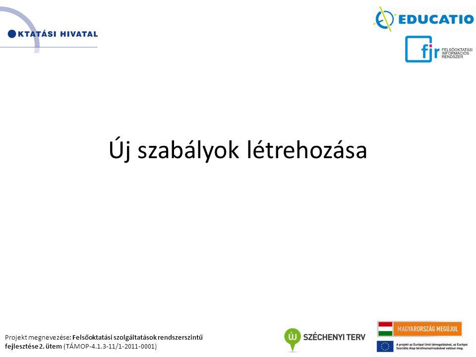 Projekt megnevezése: Felsőoktatási szolgáltatások rendszerszintű fejlesztése 2. ütem (TÁMOP-4.1.3-11/1-2011-0001) Új szabályok létrehozása
