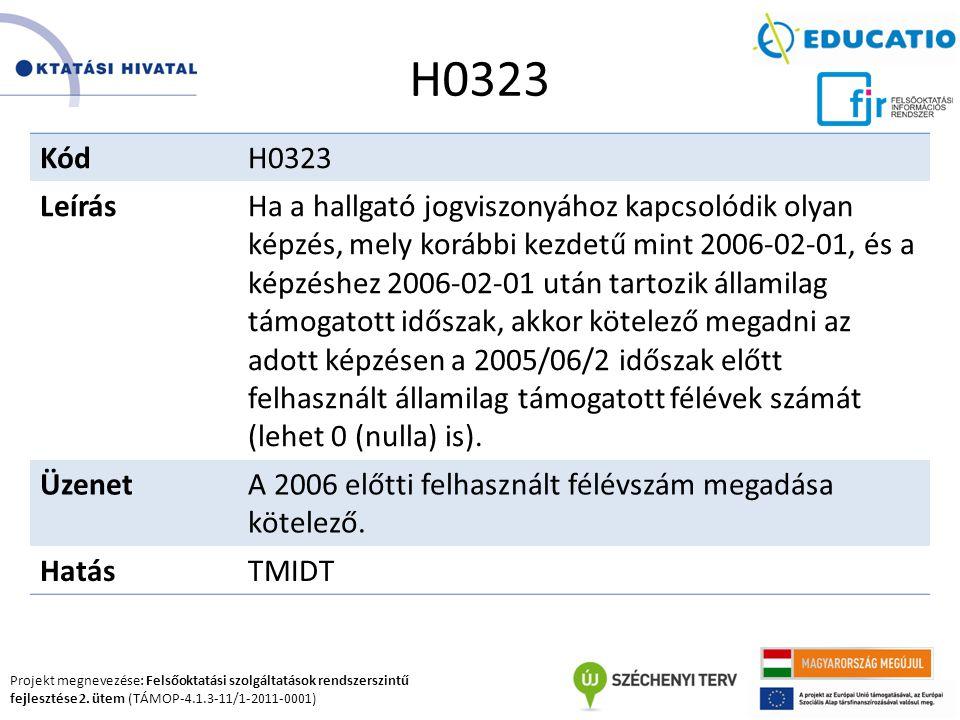 Projekt megnevezése: Felsőoktatási szolgáltatások rendszerszintű fejlesztése 2. ütem (TÁMOP-4.1.3-11/1-2011-0001) H0323 KódH0323 LeírásHa a hallgató j