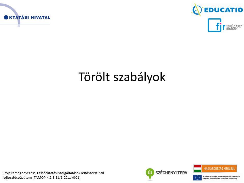 Projekt megnevezése: Felsőoktatási szolgáltatások rendszerszintű fejlesztése 2. ütem (TÁMOP-4.1.3-11/1-2011-0001) Törölt szabályok