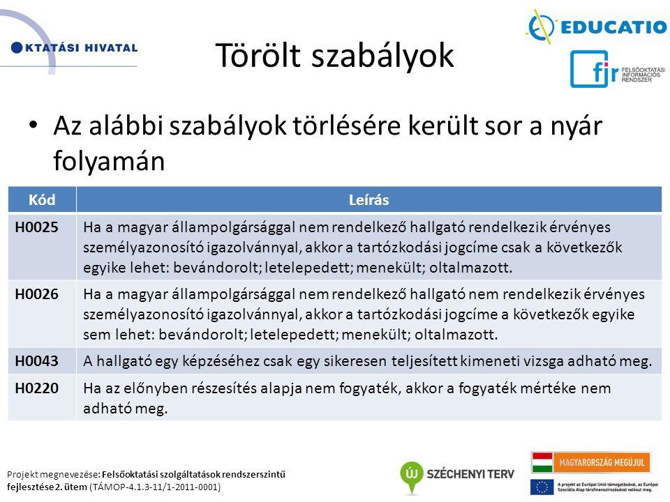 Projekt megnevezése: Felsőoktatási szolgáltatások rendszerszintű fejlesztése 2. ütem (TÁMOP-4.1.3-11/1-2011-0001) Törölt szabályok Az alábbi szabályok