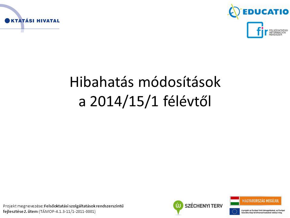 Projekt megnevezése: Felsőoktatási szolgáltatások rendszerszintű fejlesztése 2. ütem (TÁMOP-4.1.3-11/1-2011-0001) Hibahatás módosítások a 2014/15/1 fé