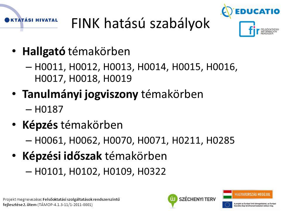 Projekt megnevezése: Felsőoktatási szolgáltatások rendszerszintű fejlesztése 2. ütem (TÁMOP-4.1.3-11/1-2011-0001) FINK hatású szabályok Hallgató témak