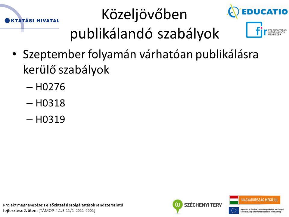 Projekt megnevezése: Felsőoktatási szolgáltatások rendszerszintű fejlesztése 2. ütem (TÁMOP-4.1.3-11/1-2011-0001) Közeljövőben publikálandó szabályok