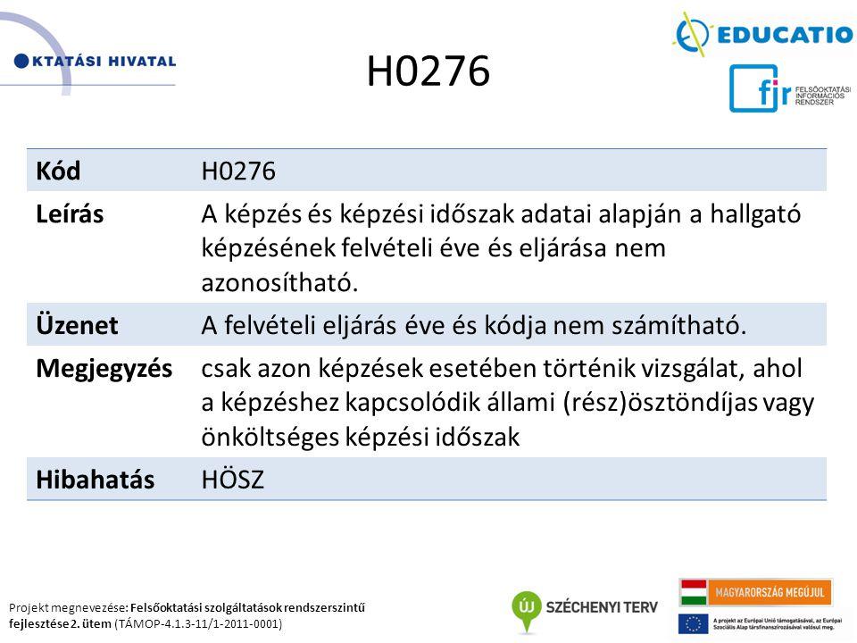 Projekt megnevezése: Felsőoktatási szolgáltatások rendszerszintű fejlesztése 2. ütem (TÁMOP-4.1.3-11/1-2011-0001) H0276 KódH0276 LeírásA képzés és kép