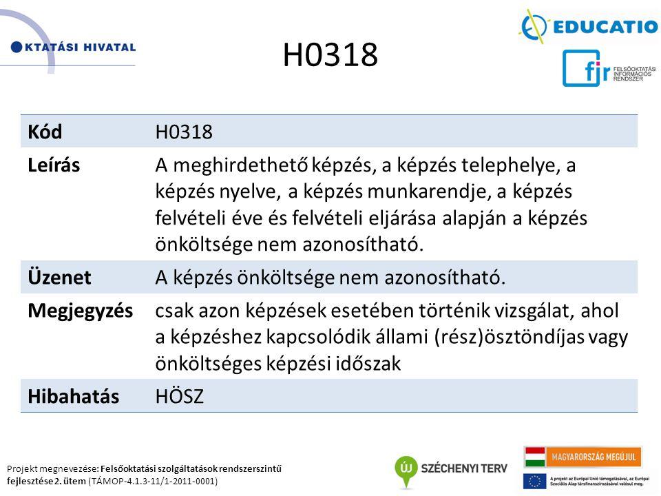 Projekt megnevezése: Felsőoktatási szolgáltatások rendszerszintű fejlesztése 2. ütem (TÁMOP-4.1.3-11/1-2011-0001) H0318 KódH0318 LeírásA meghirdethető