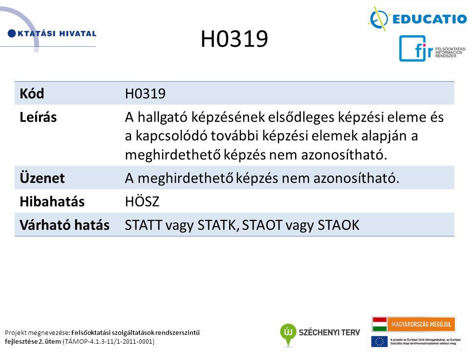 Projekt megnevezése: Felsőoktatási szolgáltatások rendszerszintű fejlesztése 2. ütem (TÁMOP-4.1.3-11/1-2011-0001) H0319 KódH0319 LeírásA hallgató képz
