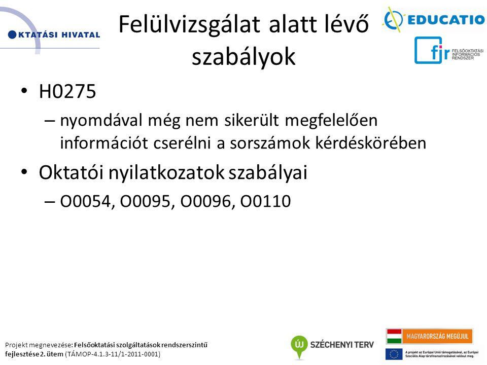 Projekt megnevezése: Felsőoktatási szolgáltatások rendszerszintű fejlesztése 2. ütem (TÁMOP-4.1.3-11/1-2011-0001) Felülvizsgálat alatt lévő szabályok