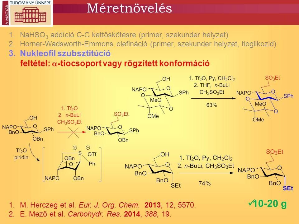 Méretnövelés 1.NaHSO 3 addíció C-C kettőskötésre (primer, szekunder helyzet) 2.Horner-Wadsworth-Emmons olefináció (primer, szekunder helyzet, tiogliko