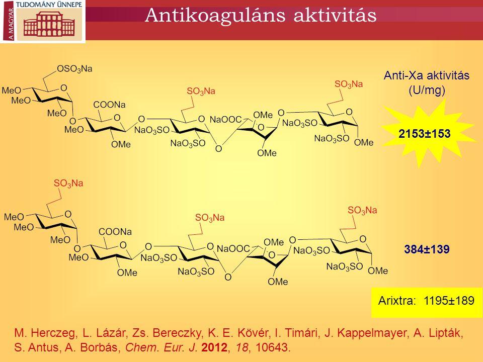 Antikoaguláns aktivitás M. Herczeg, L. Lázár, Zs. Bereczky, K. E. Kövér, I. Timári, J. Kappelmayer, A. Lipták, S. Antus, A. Borbás, Chem. Eur. J. 2012