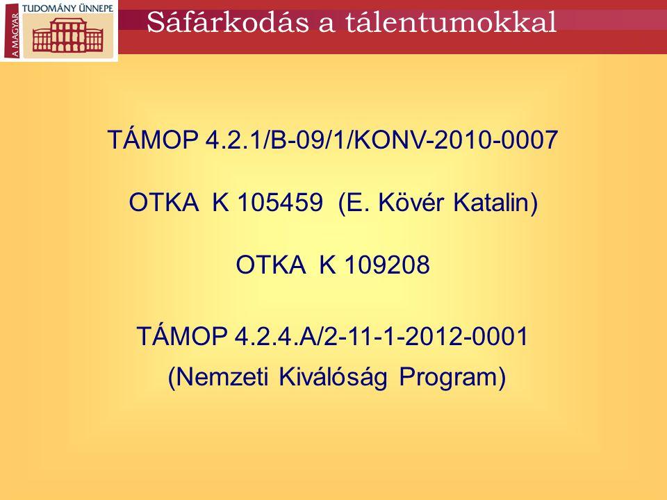 Sáfárkodás a tálentumokkal TÁMOP 4.2.1/B-09/1/KONV-2010-0007 OTKA K 105459 (E. Kövér Katalin) OTKA K 109208 TÁMOP 4.2.4.A/2-11-1-2012-0001 (Nemzeti Ki