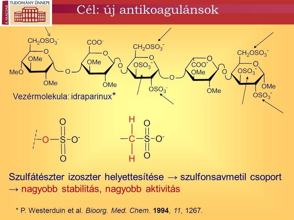 Cél: új antikoagulánsok * P. Westerduin et al. Bioorg. Med. Chem. 1994, 11, 1267. Vezérmolekula: idraparinux * Szulfátészter izoszter helyettesítése →