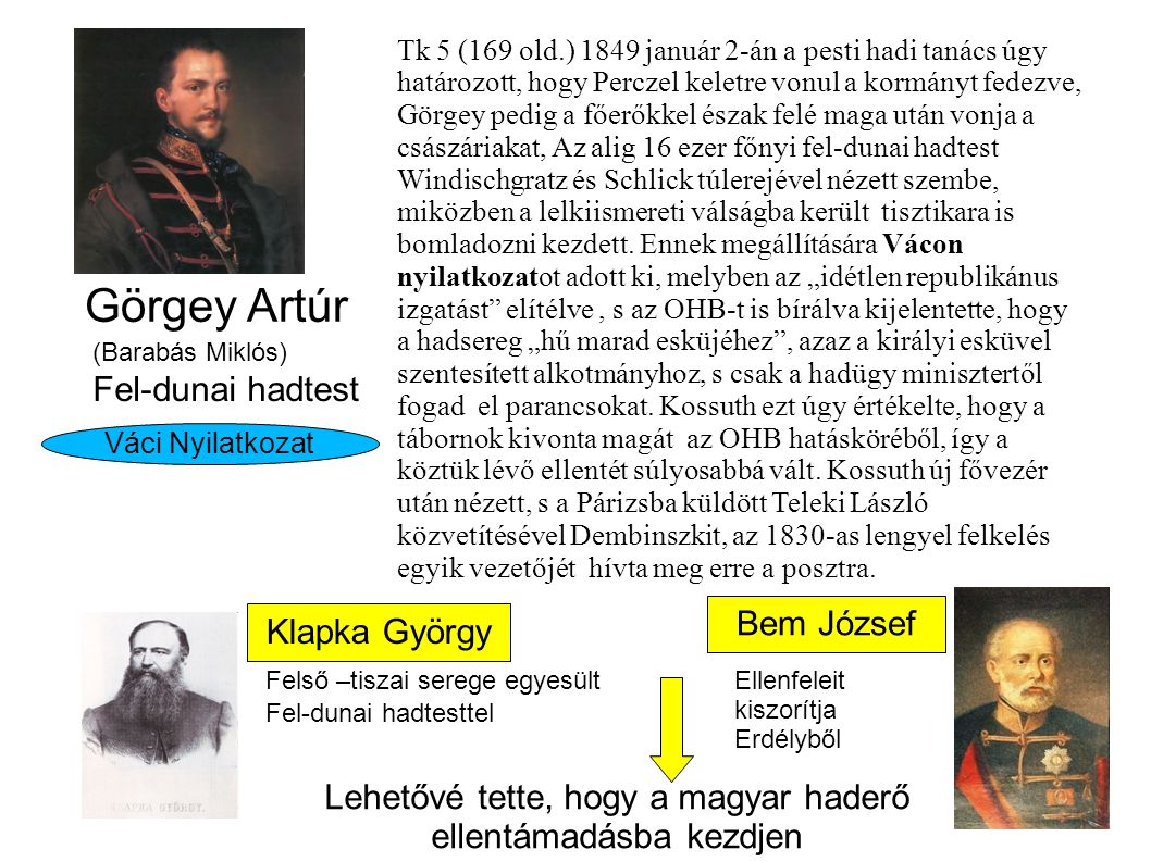 Görgey Artúr (Barabás Miklós) Váci Nyilatkozat Fel-dunai hadtest Tk 5 (169 old.) 1849 január 2-án a pesti hadi tanács úgy határozott, hogy Perczel keletre vonul a kormányt fedezve, Görgey pedig a főerőkkel észak felé maga után vonja a császáriakat, Az alig 16 ezer főnyi fel-dunai hadtest Windischgratz és Schlick túlerejével nézett szembe, miközben a lelkiismereti válságba került tisztikara is bomladozni kezdett.