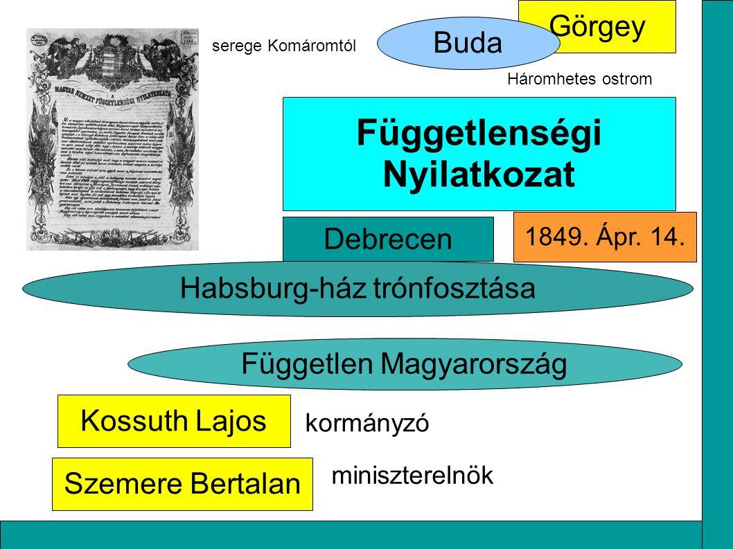 Kossuth Lajos Habsburg-ház trónfosztása Szemere Bertalan Görgey Függetlenségi Nyilatkozat Független Magyarország Buda serege Komáromtól Háromhetes ostrom kormányzó miniszterelnök Debrecen 1849.