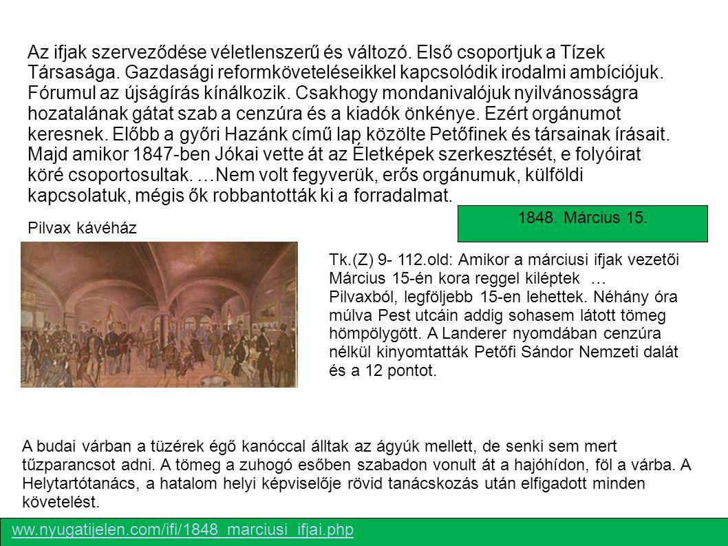 Petőfi Sándor Vasvári PálJókai Mór Irinyi JózsefDegré Alajos MÁRCIUSI IFJAK http://www.suliaweben.hu/index.php?page=single&tk=57 Forradalom Pesten - 1848.