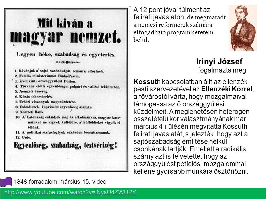 Pesten Polgári állam felépítése NÉPKÉPVISELETI ORSZÁGGYŰLÉS FÜGGETLEN FELELŐS MINISZTÉRIUM-on eltörölték a korábbi központi hivatalokat évente választójog Alacsony cenzus alapján keresztül gyakorolhatta az uralkodó a végrehajtó hatalmat, rendeletei miniszteri ellenjegyzés (aláírás) nélkül érvénytelenek voltak Az országgyűlés kétkamarás maradt a főrendiház szervezete lényegében alig változott, bár tényleges szerepe csökkent, az alsó táblát átalakították: vallások egyenjogúsítása Nemzetőrség felállítása Hitelintézet Sajtótörvény