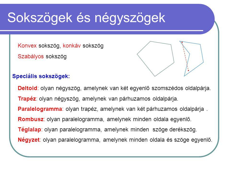 Sokszögek és négyszögek Konvex sokszög, konkáv sokszög Szabályos sokszög Deltoid: olyan négyszög, amelynek van két egyenlő szomszédos oldalpárja. Trap