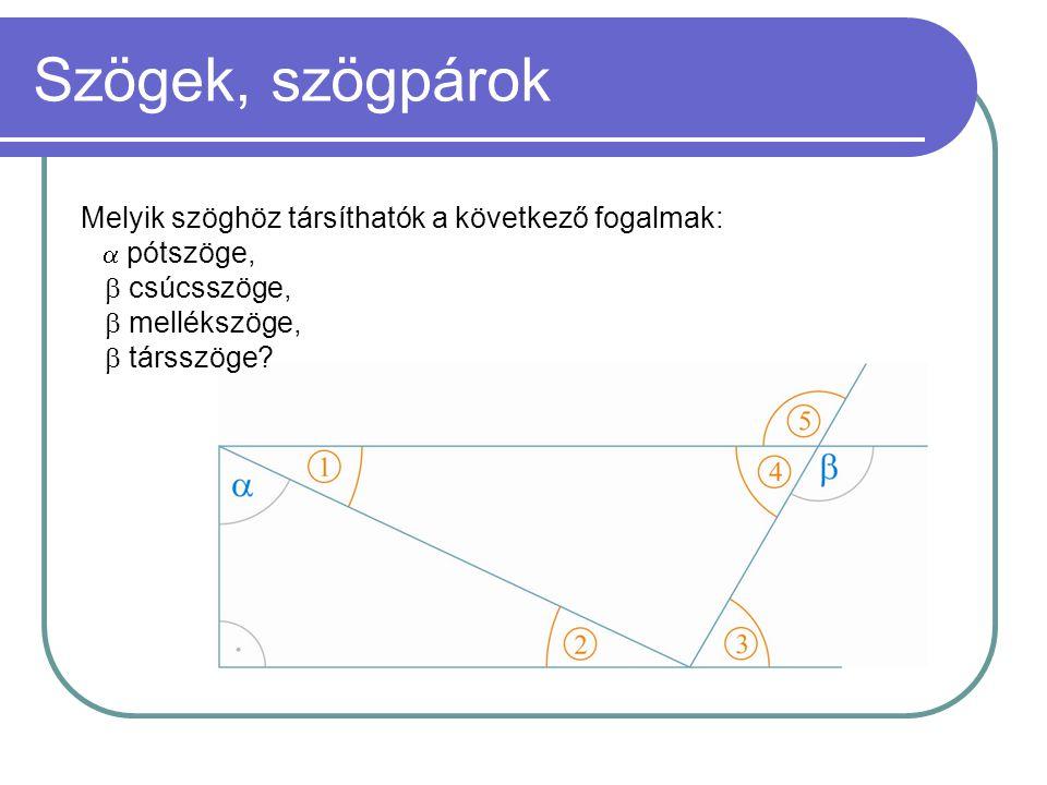 Szögek, szögpárok Melyik szöghöz társíthatók a következő fogalmak:  pótszöge,  csúcsszöge,  mellékszöge,  társszöge?