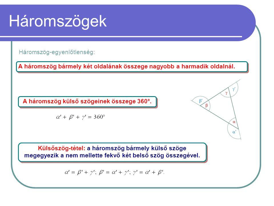 Háromszögek A háromszög bármely két oldalának összege nagyobb a harmadik oldalnál. A háromszög külső szögeinek összege 360°. Külsőszög-tétel: a hároms
