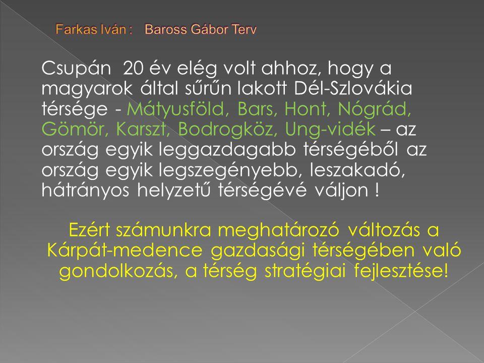 Csupán 20 év elég volt ahhoz, hogy a magyarok által sűrűn lakott Dél-Szlovákia térsége - Mátyusföld, Bars, Hont, Nógrád, Gömör, Karszt, Bodrogköz, Ung-vidék – az ország egyik leggazdagabb térségéből az ország egyik legszegényebb, leszakadó, hátrányos helyzetű térségévé váljon .