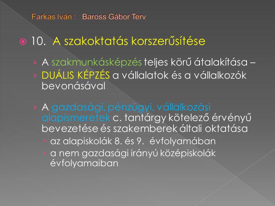  10. A szakoktatás korszerűsítése › A szakmunkásképzés teljes körű átalakítása – › DUÁLIS KÉPZÉS a vállalatok és a vállalkozók bevonásával › A gazdas