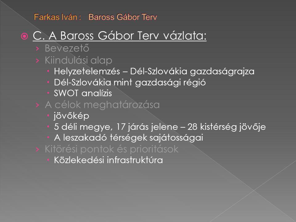  C. A Baross Gábor Terv vázlata: › Bevezető › Kiindulási alap  Helyzetelemzés – Dél-Szlovákia gazdaságrajza  Dél-Szlovákia mint gazdasági régió  S
