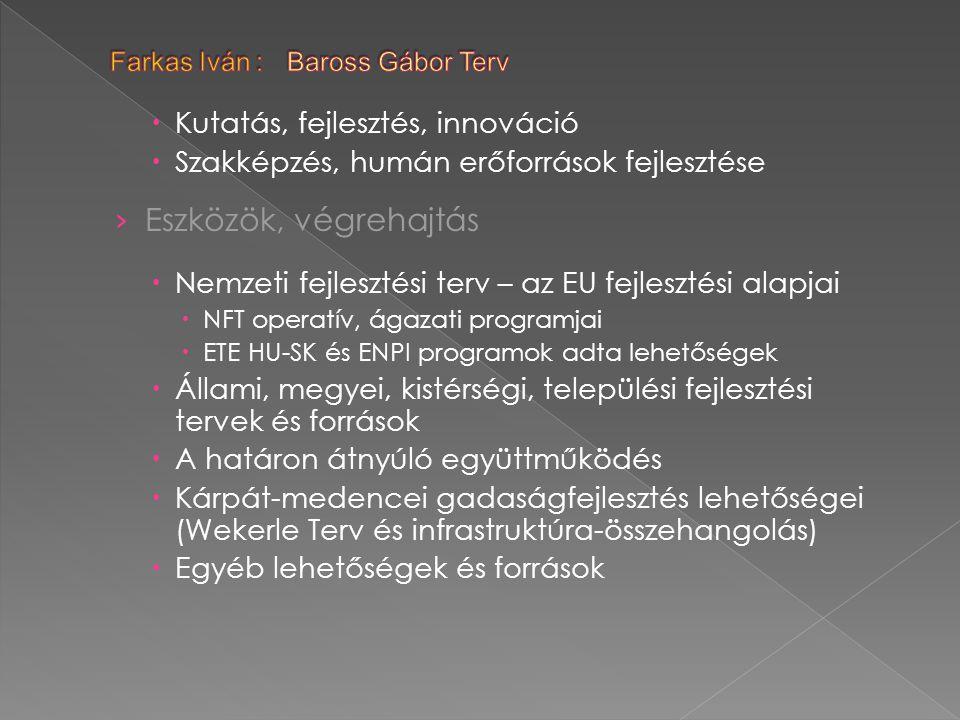  Kutatás, fejlesztés, innováció  Szakképzés, humán erőforrások fejlesztése › Eszközök, végrehajtás  Nemzeti fejlesztési terv – az EU fejlesztési alapjai  NFT operatív, ágazati programjai  ETE HU-SK és ENPI programok adta lehetőségek  Állami, megyei, kistérségi, települési fejlesztési tervek és források  A határon átnyúló együttműködés  Kárpát-medencei gadaságfejlesztés lehetőségei (Wekerle Terv és infrastruktúra-összehangolás)  Egyéb lehetőségek és források