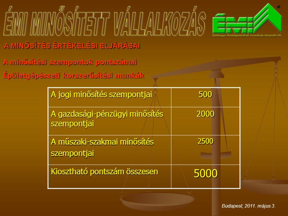 A MINŐSÍTÉS ÉRTÉKELÉSI ELJÁRÁSAI A minősítési szempontok pontszámai Épületgépészeti korszerűsítési munkák Budapest, 2011. május 3. A jogi minősítés sz