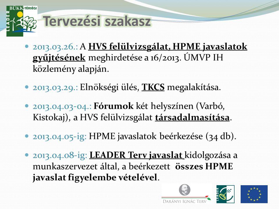 2013.03.26.: A HVS felülvizsgálat, HPME javaslatok gyűjtésének meghirdetése a 16/2013.