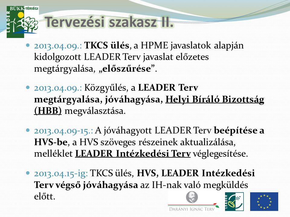 """2013.04.09.: TKCS ülés, a HPME javaslatok alapján kidolgozott LEADER Terv javaslat előzetes megtárgyalása, """"előszűrése ."""