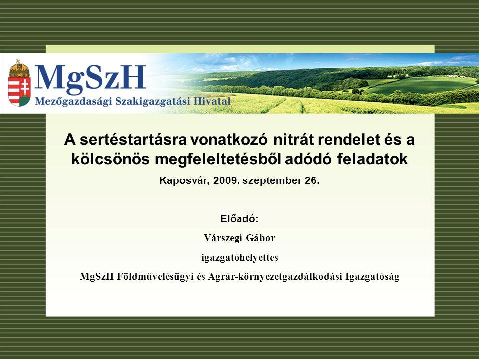 Áttekintés A Kölcsönös Megfeleltetés idei ellenőrzéseinek állapota Nitrát rendelet a hazai szabályozásban A helyes mezőgazdasági gyakorlat előírásai Adatszolgáltatási kötelezettségek Agrár-környezetgazdálkodási programokkal kapcsolatos nyilvántartás