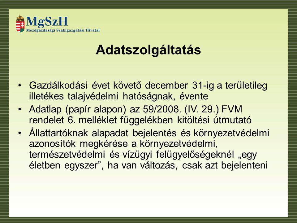 Adatszolgáltatás Gazdálkodási évet követő december 31-ig a területileg illetékes talajvédelmi hatóságnak, évente Adatlap (papír alapon) az 59/2008.