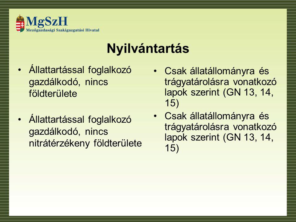 Nyilvántartás Állattartással foglalkozó gazdálkodó, nincs földterülete Állattartással foglalkozó gazdálkodó, nincs nitrátérzékeny földterülete Csak állatállományra és trágyatárolásra vonatkozó lapok szerint (GN 13, 14, 15)