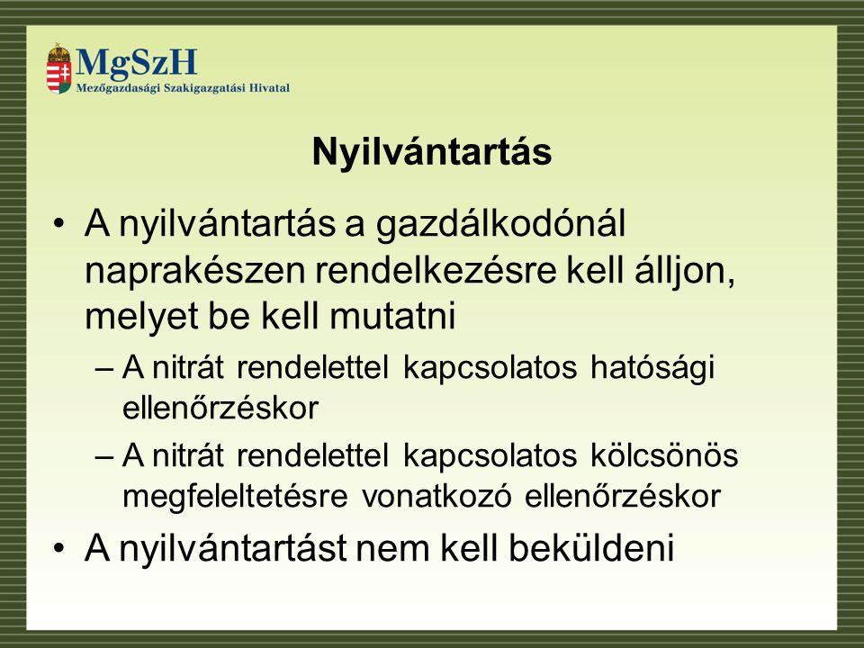 Nyilvántartás A nyilvántartás a gazdálkodónál naprakészen rendelkezésre kell álljon, melyet be kell mutatni –A nitrát rendelettel kapcsolatos hatósági ellenőrzéskor –A nitrát rendelettel kapcsolatos kölcsönös megfeleltetésre vonatkozó ellenőrzéskor A nyilvántartást nem kell beküldeni