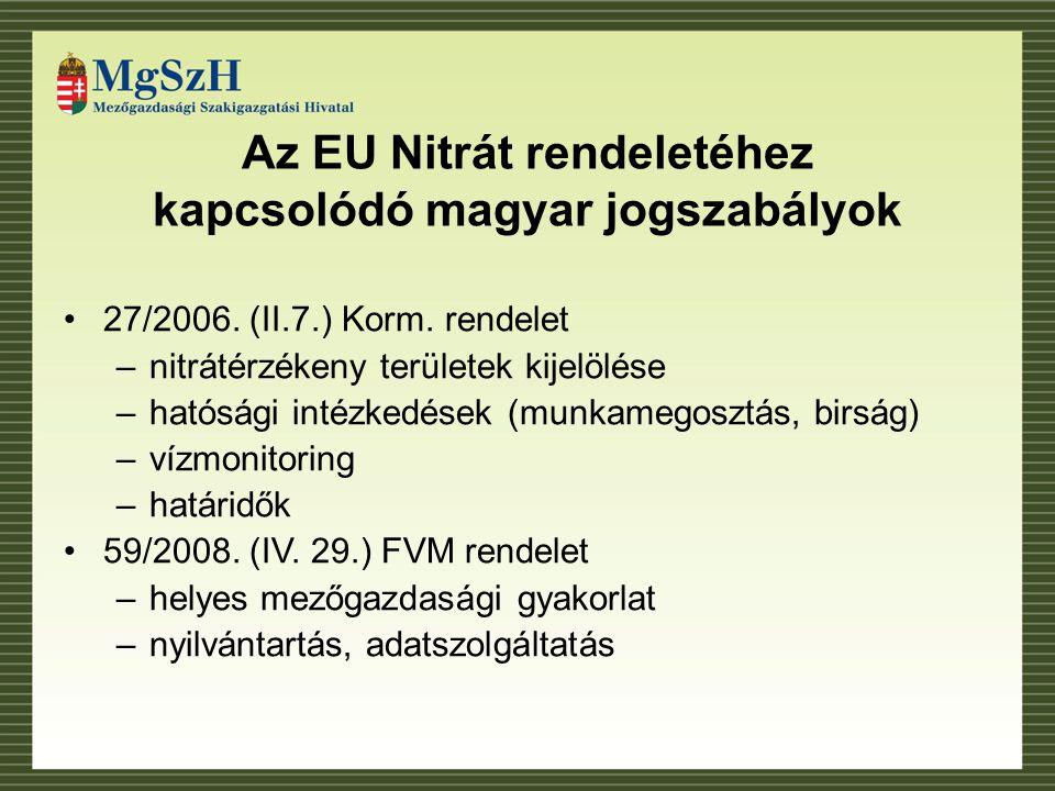 Az EU Nitrát rendeletéhez kapcsolódó magyar jogszabályok 27/2006.