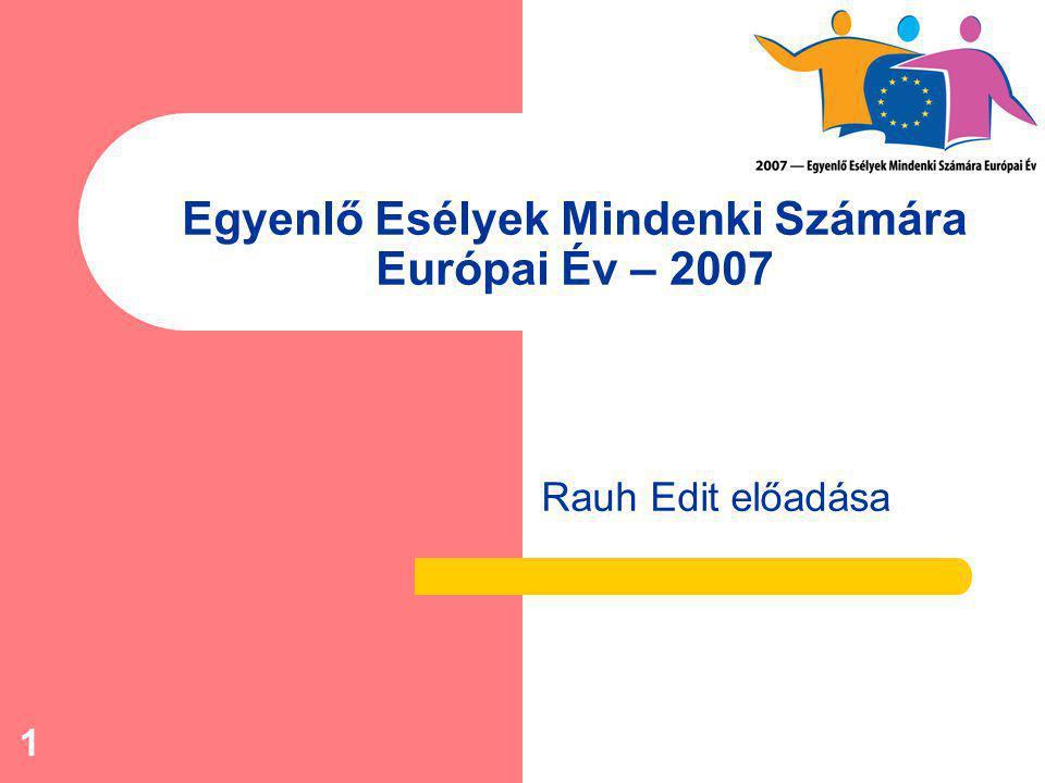 1 Egyenlő Esélyek Mindenki Számára Európai Év – 2007 Rauh Edit előadása