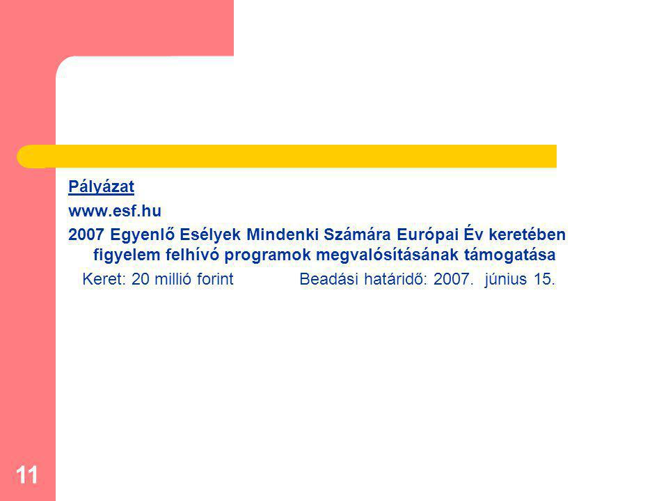 11 Pályázat www.esf.hu 2007 Egyenlő Esélyek Mindenki Számára Európai Év keretében figyelem felhívó programok megvalósításának támogatása Keret: 20 millió forint Beadási határidő: 2007.
