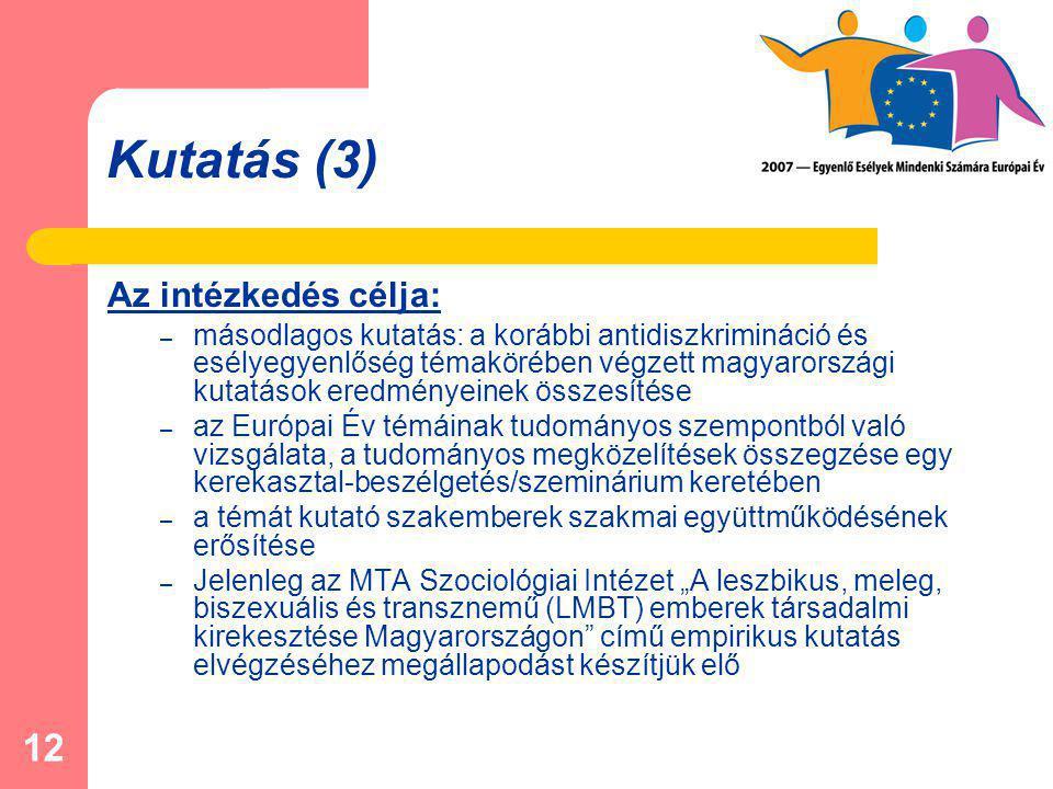 """12 Kutatás (3) Az intézkedés célja: – másodlagos kutatás: a korábbi antidiszkrimináció és esélyegyenlőség témakörében végzett magyarországi kutatások eredményeinek összesítése – az Európai Év témáinak tudományos szempontból való vizsgálata, a tudományos megközelítések összegzése egy kerekasztal-beszélgetés/szeminárium keretében – a témát kutató szakemberek szakmai együttműködésének erősítése – Jelenleg az MTA Szociológiai Intézet """"A leszbikus, meleg, biszexuális és transznemű (LMBT) emberek társadalmi kirekesztése Magyarországon című empirikus kutatás elvégzéséhez megállapodást készítjük elő"""