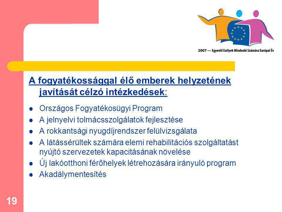 19 A fogyatékossággal élő emberek helyzetének javítását célzó intézkedések: Országos Fogyatékosügyi Program A jelnyelvi tolmácsszolgálatok fejlesztése