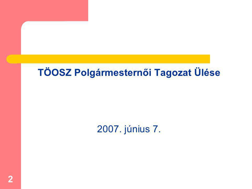 2 TÖOSZ Polgármesternői Tagozat Ülése 2007. június 7.