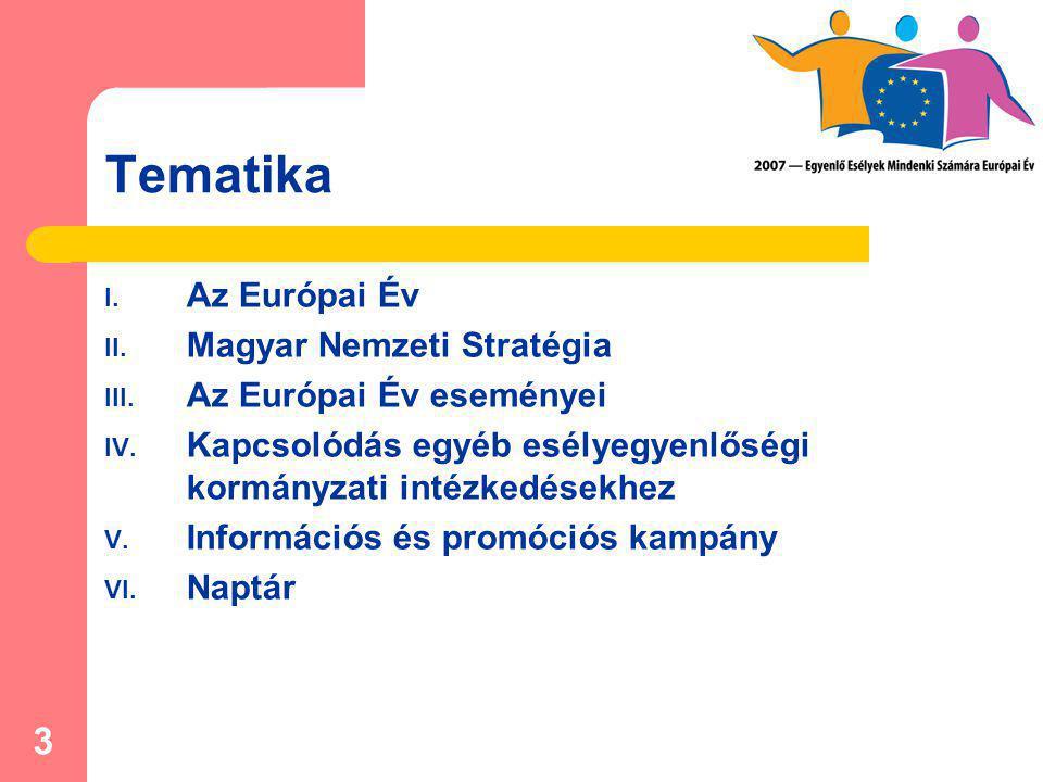 3 Tematika I. Az Európai Év II. Magyar Nemzeti Stratégia III. Az Európai Év eseményei IV. Kapcsolódás egyéb esélyegyenlőségi kormányzati intézkedésekh