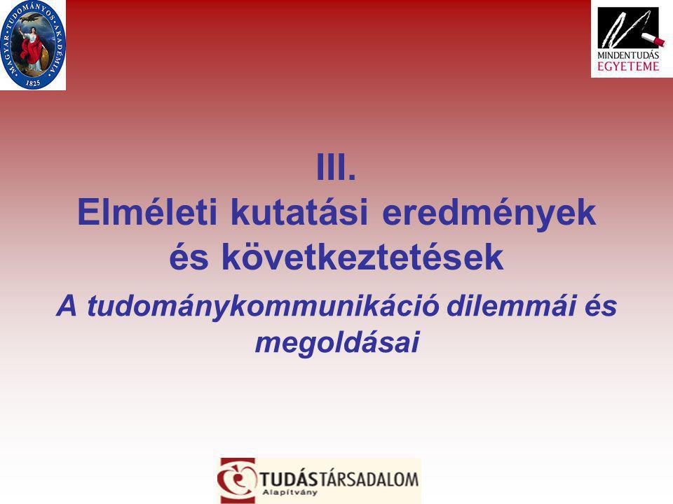 III. Elméleti kutatási eredmények és következtetések A tudománykommunikáció dilemmái és megoldásai