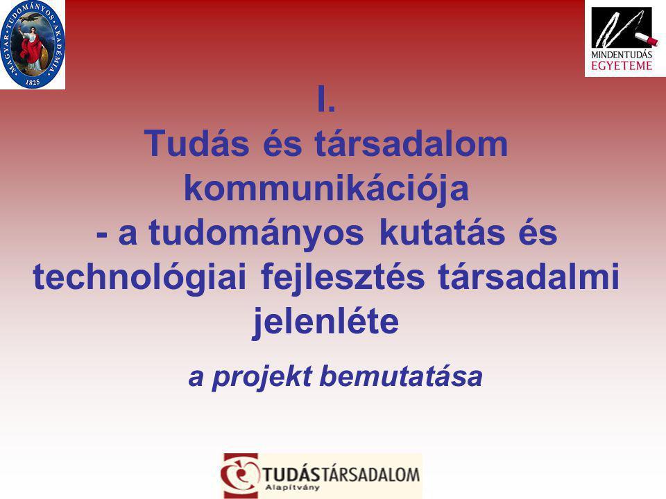 I. Tudás és társadalom kommunikációja - a tudományos kutatás és technológiai fejlesztés társadalmi jelenléte a projekt bemutatása