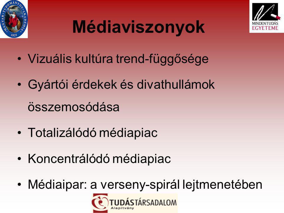 Médiaviszonyok Vizuális kultúra trend-függősége Gyártói érdekek és divathullámok összemosódása Totalizálódó médiapiac Koncentrálódó médiapiac Médiaipar: a verseny-spirál lejtmenetében