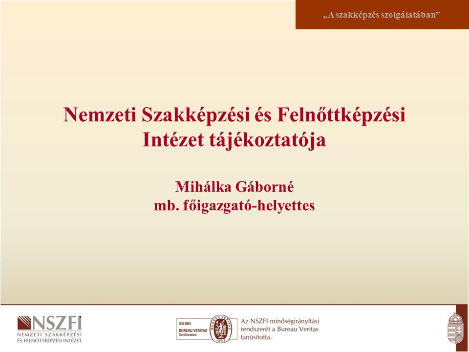 """Nemzeti Szakképzési és Felnőttképzési Intézet tájékoztatója Mihálka Gáborné mb. főigazgató-helyettes """"A szakképzés szolgálatában"""""""