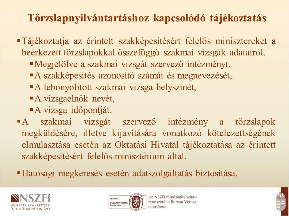 Törzslapnyilvántartáshoz kapcsolódó tájékoztatás  Tájékoztatja az érintett szakképesítésért felelős minisztereket a beérkezett törzslapokkal összefüg