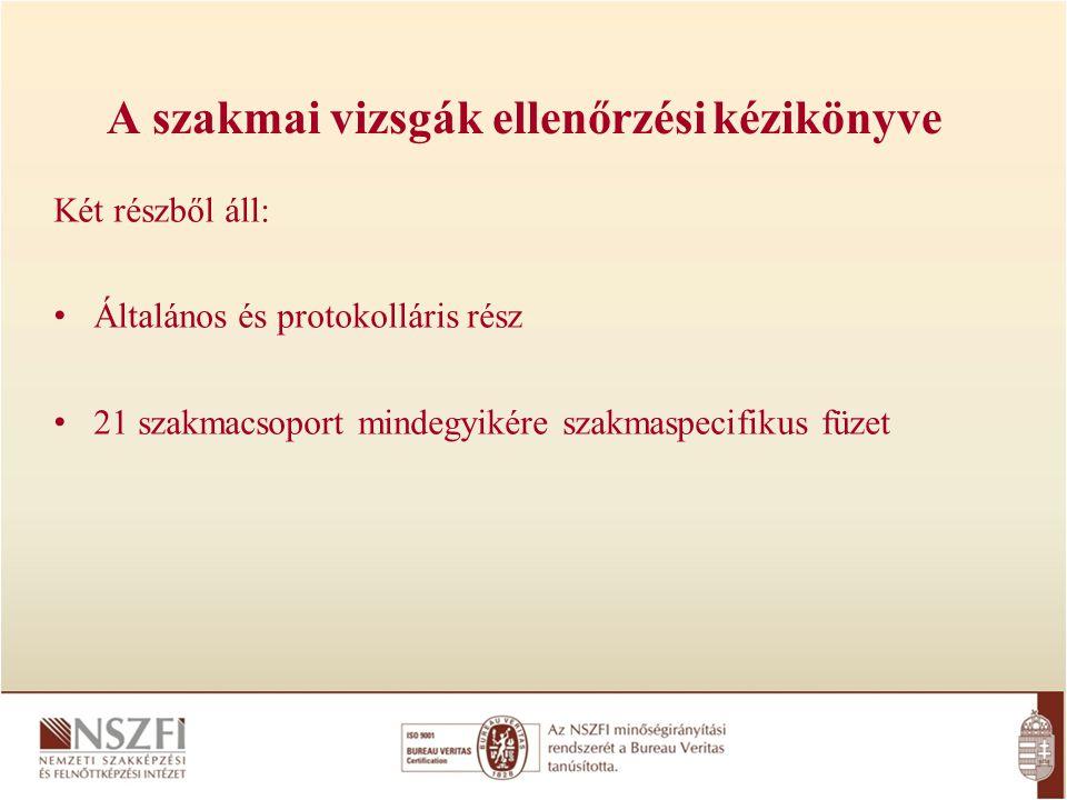 A szakmai vizsgák ellenőrzési kézikönyve Két részből áll: Általános és protokolláris rész 21 szakmacsoport mindegyikére szakmaspecifikus füzet