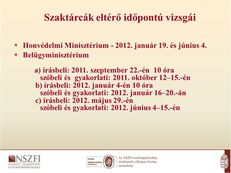  Honvédelmi Minisztérium - 2012. január 19. és június 4.  Belügyminisztérium a) írásbeli: 2011. szeptember 22.-én 10 óra szóbeli és gyakorlati: 2011