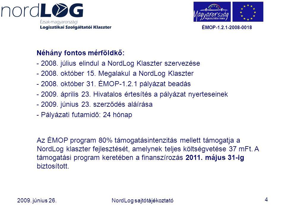 4 2008. október 15. Az Észak-magyarországi Logisztikai Szolgáltatói Klaszter létrehozása 2009. június 26.NordLog sajtótájékoztató ÉMOP-1.2.1-2008-0018