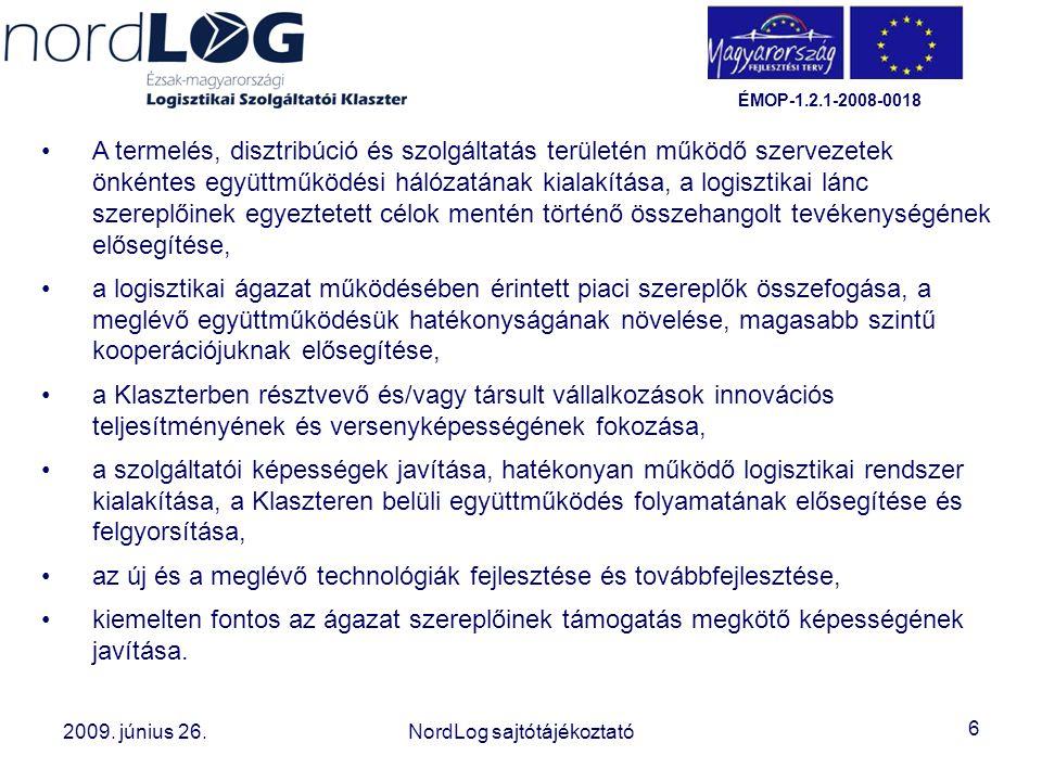 6 2008. október 15. Az Észak-magyarországi Logisztikai Szolgáltatói Klaszter létrehozása 2009. június 26.NordLog sajtótájékoztató ÉMOP-1.2.1-2008-0018